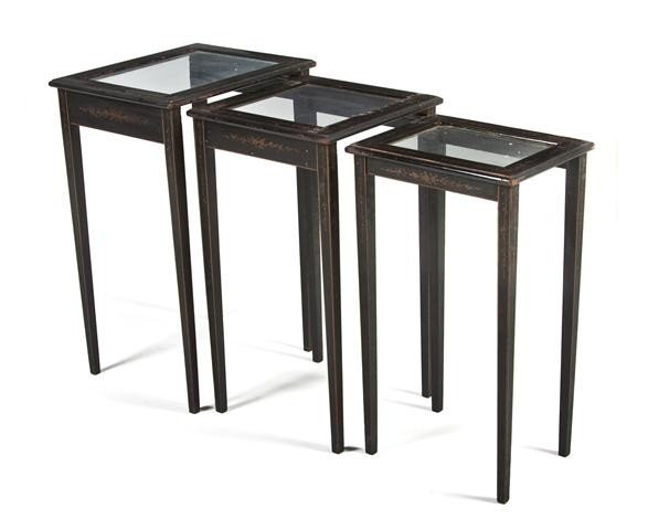 4: A Set of Three Painted and Parcel Gilt Nesting Table