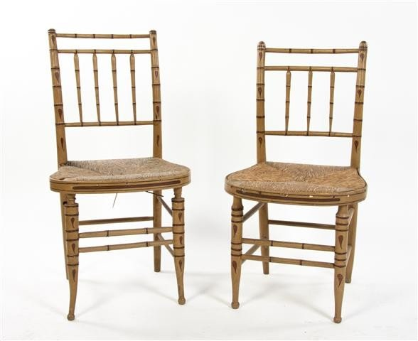 9: A Pair of American Painted Wood Side Chairs, Height