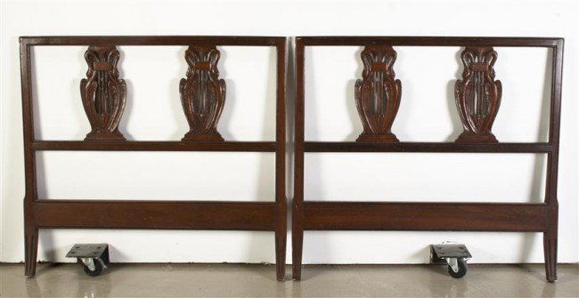 14: A Pair of Empire Style Twin Headboards, Height 36 i