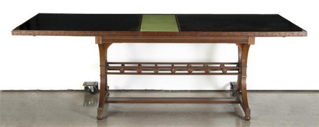 15: An Art Deco Style Glass Top Extension Dining Table,