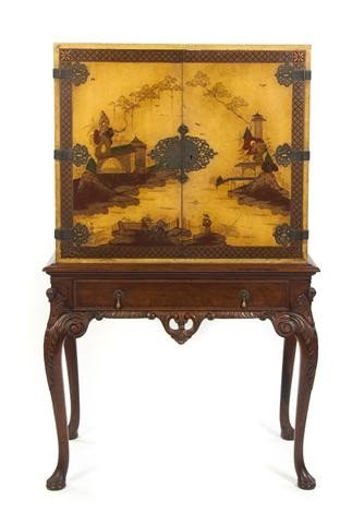 17: An American Chinoiserie Decorated Cabinet on Stand,