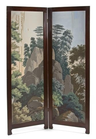 18: A Continental Two Panel Floor Screen, Height 69 7/8