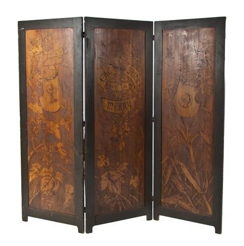 19: A Three Panel Pyrographic Floor Screen, Height 64 5