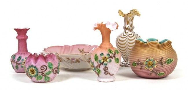 144: A Collection of Six of Victorian Glass Articles, H