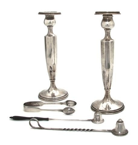 489: A Pair of American Sterling Silver Candlesticks, H