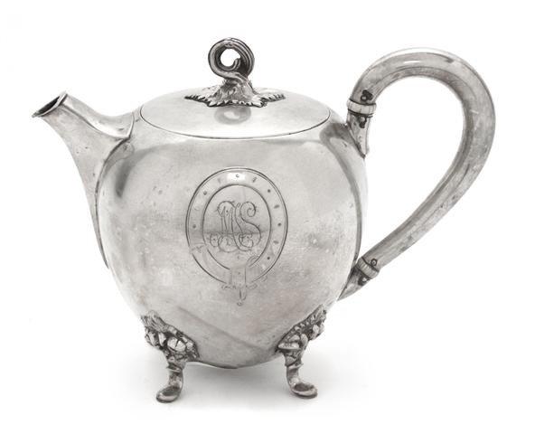 496: A German Silver Teapot, Gebruder Friedlander, Heig