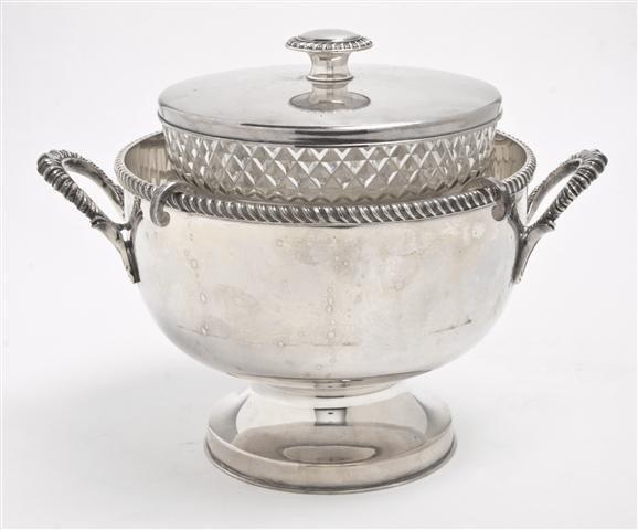 503: An English Silverplate and Cut Glass Caviar Dish,