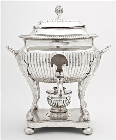 505: An English Silverplate Hot Water Kettle on Stand,