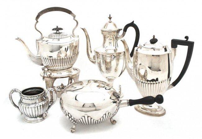 512: An Assembled English Silverplate Tea Service, Heig