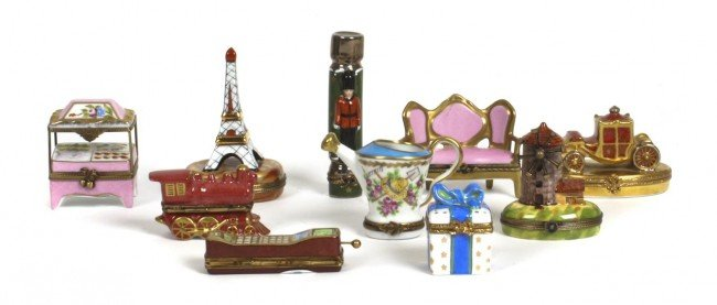 A Collection of Ten French Porcelain Boxes, Limoges, He