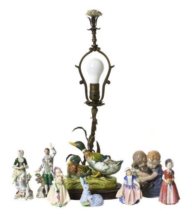 A Collection of Eight Continental Porcelain Figures, He