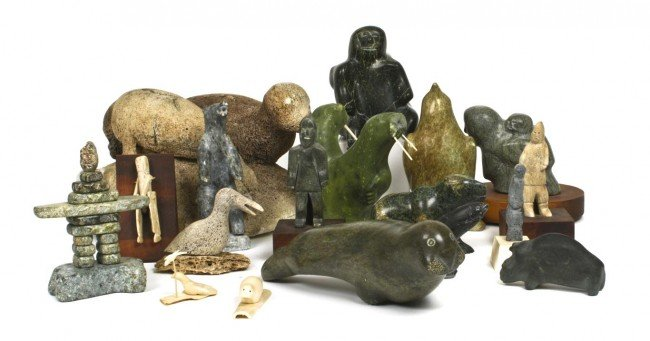 A Collection of Eighteen Inuit Carvings, Height of tall