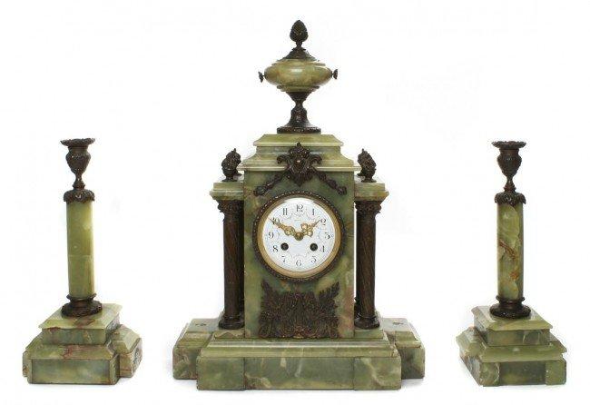 A Continental Neoclassical Green Onyx Mantel Clock, Hei