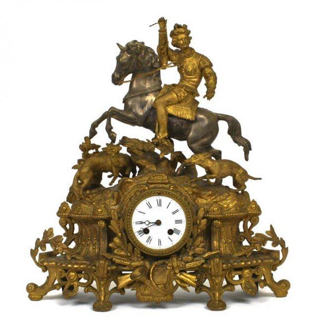 A Continental Gilt Metal Figural Mantel Clock, Height 1