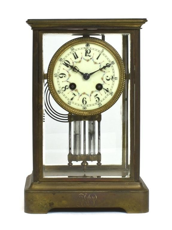A French Brass Bracket Clock, Height 10 3/4 inches.