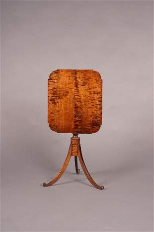 A Sheraton Style Tiger Maple Tilt-Top Cand