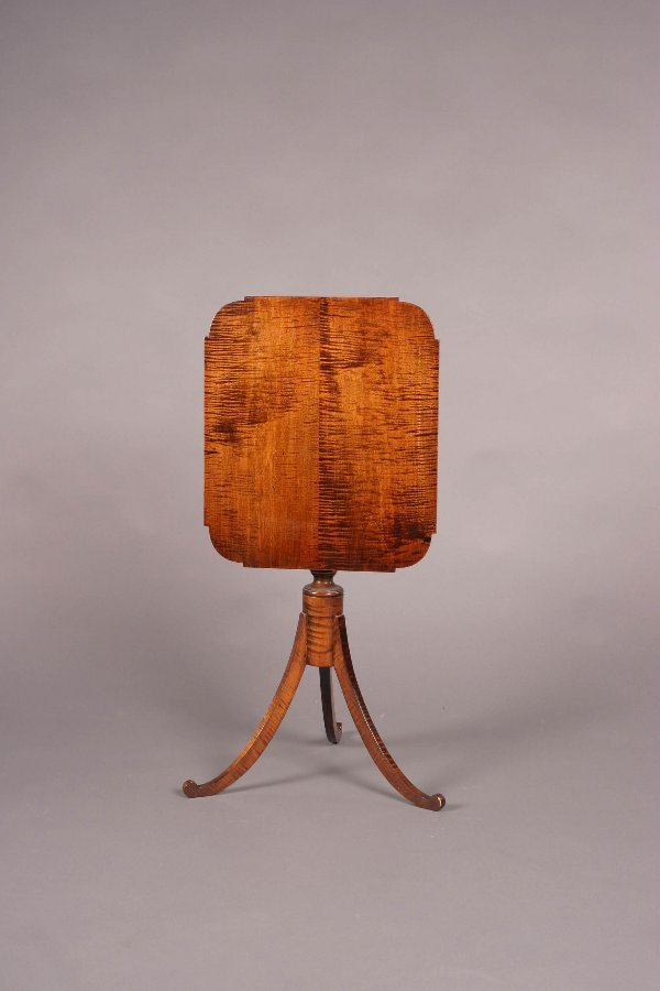 1: A Sheraton Style Tiger Maple Tilt-Top Cand