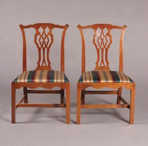 2: A Pair of George III Mahogany Side Chairs,