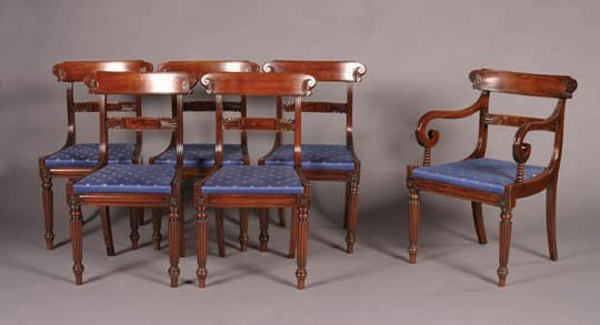 6: A Set of Six William IV Mahogany Dining Ch