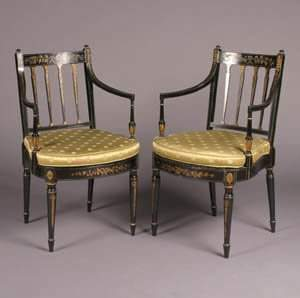 A Pair of Late George III Gilt and Black J