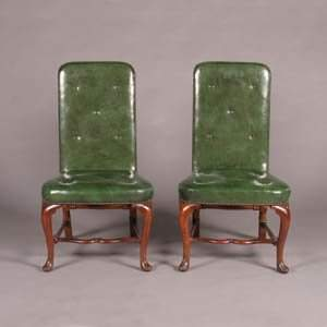 A Pair of Queen Anne Walnut Side Chairs,