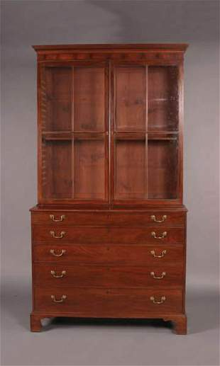 A George III Mahogany Secretary Bookcase,