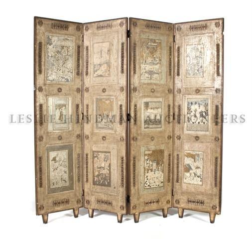4: A Four Panel Brass Inset Floor Screen, Height 65 x w