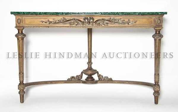 5: A Louis XVI Style Giltwood Console, Height 29 3/4 x
