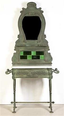 6: A Victorian Tile Inset Cast Iron Wash Stand, Height