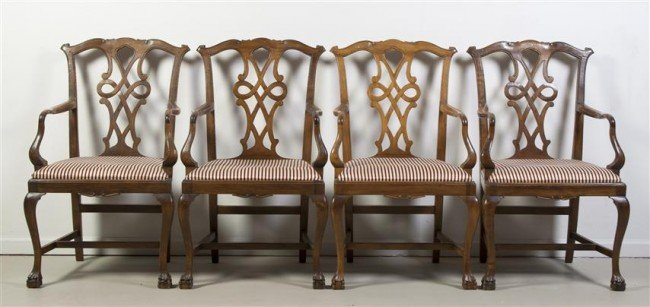 15: A Set of Four Georgian Style Armchairs, Height 37 1