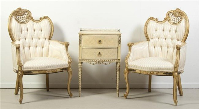 19: A Pair of Painted and Parcel Gilt Armchairs, Height