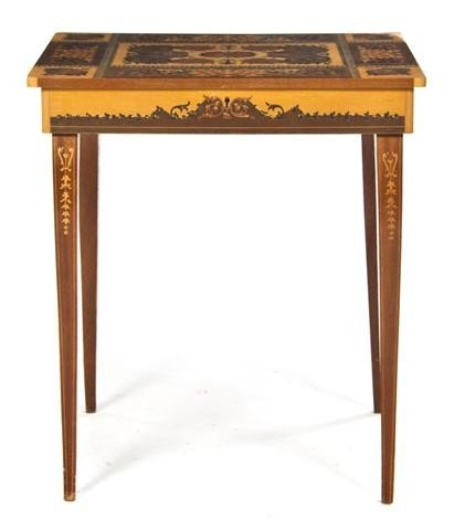 22: An Italian Marquetry Side Table, Height 20 1/4 x wi