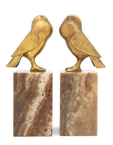 372: A Pair of Gilt Bronze Bookends, G.H. Laurent, Heig
