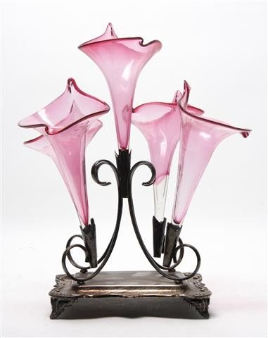 523: A Victorian Silverplate Epergne, Height overall 13