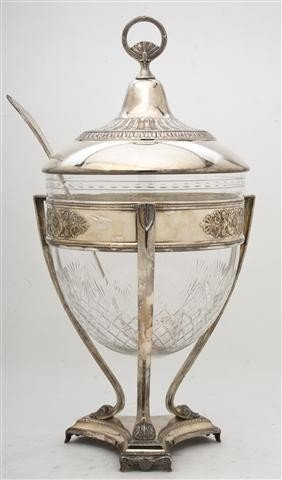 525: A German WMF Silverplate and Cut Glass Punch Bowl,