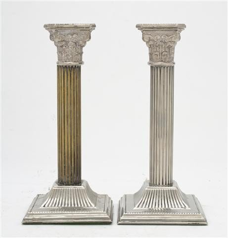 532: A Pair of English Silverplate Candlesticks, Height