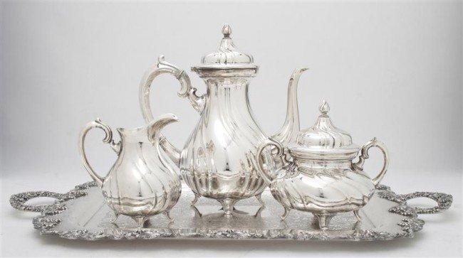 533: An Assembled Silverplate Tea Set, Height of first