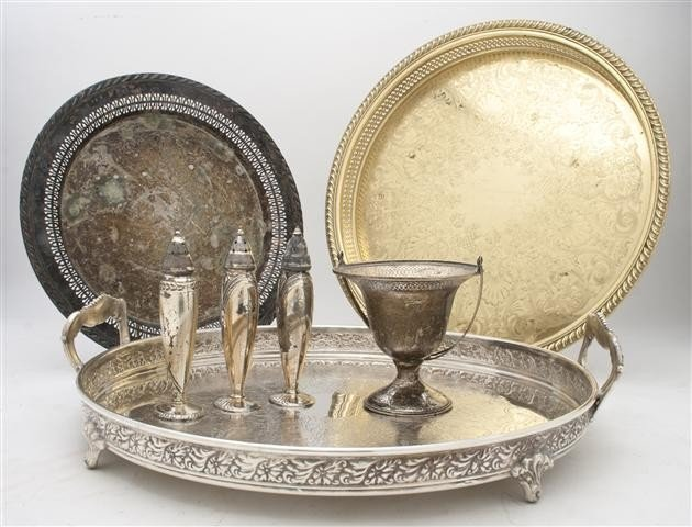 534: A Collection of Silver, Brass and Silverplate Serv