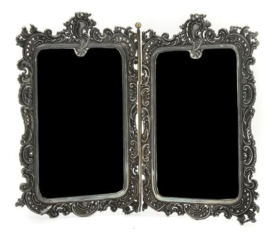 535: A Silverplate Two-Panel Table Mirror, Width overal