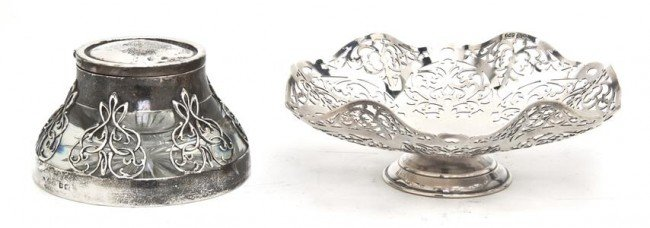 538: An English Silver and Glass Inkpot, Height of firs