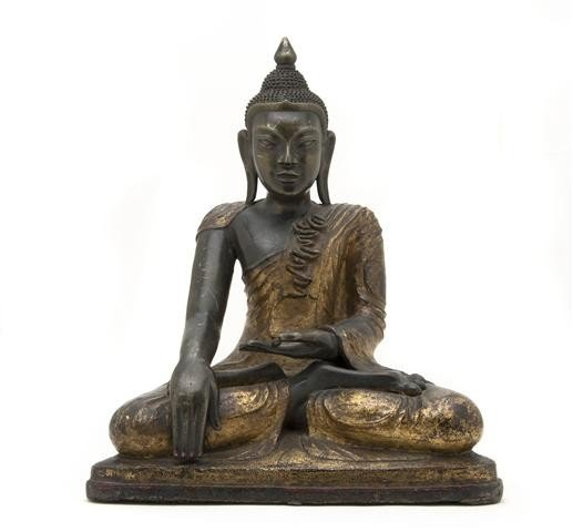 729: A Bronze Figure of Buddha, Height 15 inches.