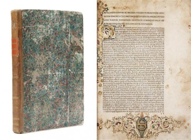 1: (INCUNABLE) SIMONETA, JOANNES. Commentarii rerum ges