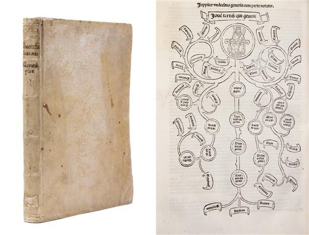 3: (INCUNABLE) BOCCACCIO, GIOVANNI. Genealogie deorum.
