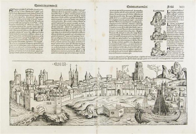 7: (INCUNABLE, LEAVES) SCHEDEL, HARTMANN. A group of fo