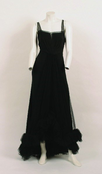 3: Black Silk Crepe and Tulle Evening Gown