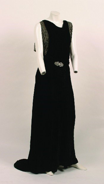 6: Black Velvet Beaded Evening Gown
