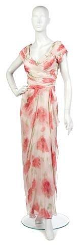 3: A Lillie Rubin Cream Silk Chiffon Floral Evening Gow