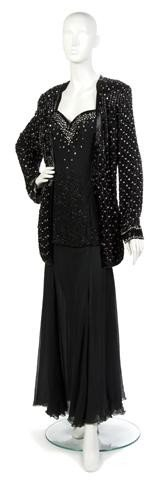 4: A Black Sequin Evening Gown with Matching Jacket,
