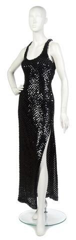 7: A Lee Jordan Black Sequin Racerback Evening Gown,