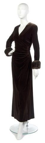 8: A Brown Velvet Evening Gown,